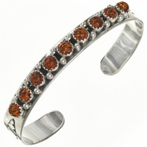 Native American Amber Silver Row Cuff 29225