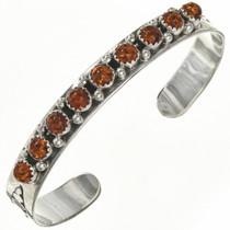 Native American Amber Silver Row Cuff 29225