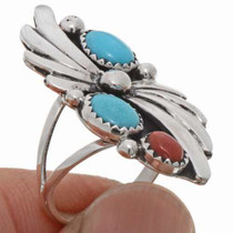 Sleeping Beauty Turquoise Coral Ladies Ring 25866