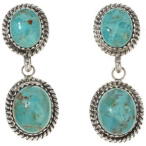 Navajo Turquoise Silver Dangle Earrings 22390