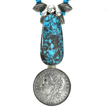 Navajo Turquoise Coin Necklace Old Pawn Style 0009
