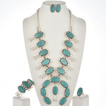 Turquoise Squash Blossom Necklace Navajo Full Size Set 29449