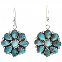 Turquoise Cluster Navajo Earrings 29099