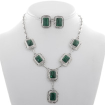 Malachite Silver Y Necklace Set 27738