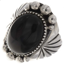 Black Onyx Silver Mens Ring 24018