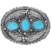 1 1//2 Womens Vintage Silver Buckle with Turquoise Stone on Quality Snake Sk...