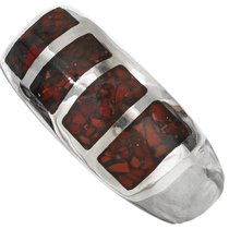 Red Coral Navajo Mens Ring 29767