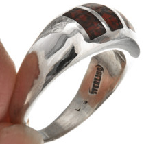 Sleek Sterling Coral Mens Ring 29767