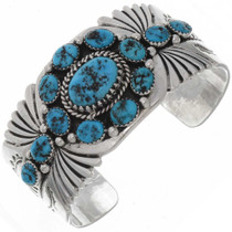 Natural Turquoise Silver Mens Bracelet 25799