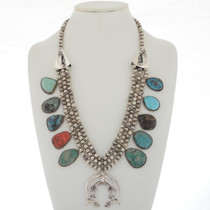 Turquoise Coral Squash Blossom Necklace 18424