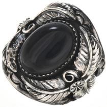 Black Onyx Silver Mens Ring 28957