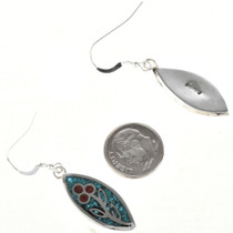 Inlaid Navajo Sterling Earrings 29090