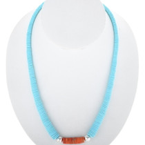 Turquoise Spiny Oyster Silver Necklace 27434