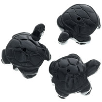 Carved Black Turtle Fetish Beads 1969