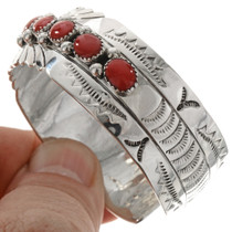 Hammered Silver Coral Cuff Bracelet 23226