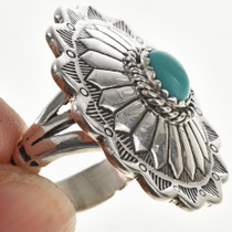Genuine Turquoise Silver Concho Ring 28941