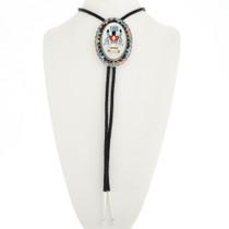 Navajo Apache Crown Dancer Silver Bolo Tie 17179