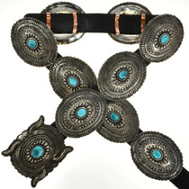 Sleeping Beauty Turquoise Silver Concho Belt 29485