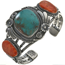 Turquoise Coral Silver Bracelet 28645