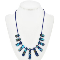 Blue Green Jasper Lapis Necklace 29061