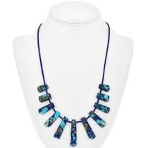 Blue Green Jasper Lapis Necklace 29061