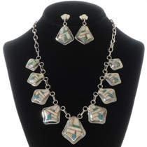 Inlaid Turquoise Opal Necklace Earrings 15183