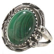 Malachite Gemstone Silver Ladies Ring 28742