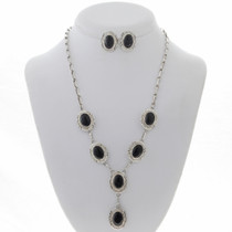Native American Onyx Silver Necklace 27901