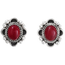 Blood Red Coral Navajo Silver Earrings 29519