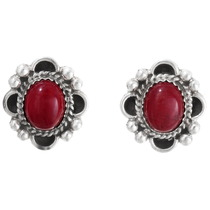 Blood Red Coral Navajo Silver Earrings 29519