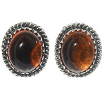 Navajo Amber Silver Earrings 28448