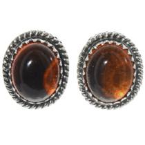 Navajo Amber Silver Earrings 28448
