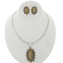 Green Turquoise Cluster Necklace Set 27707