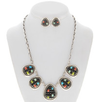 Turquoise Coral Jet Silver Necklace Set 27867