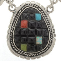 Cobblestone Inlaid Silver Necklace 27867