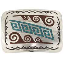 Water Design Silver Turquoise Buckle 32656