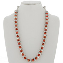 Navajo Mercury Dime Coral Necklace 27781