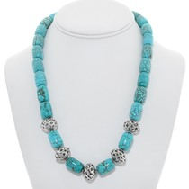 Navajo Turquoise Silver Bead Necklace 22688
