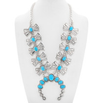 Turquoise Silver Squash Blossom Necklace 28956