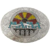 Custom Inlaid Silver Belt Buckle 27442