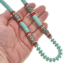 Unisex Navajo Turquoise Coral Silver Necklace 29695