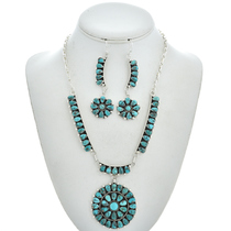 Turquoise Cluster Necklace Set 29748