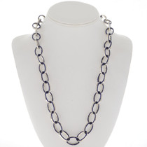 Lapis Inlaid Silver Link Chain Necklace 27737