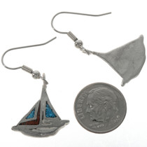 Inlaid Sailboat Ladies Teens Earrings 23916