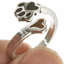 Inlaid Heart Puppy Paw Navajo Ring 28768