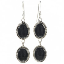 Black Onyx Silver Navajo Earrings 29068