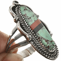 Inlaid Turquoise Coral Ring 28808