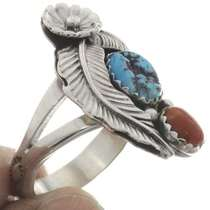 Native American Turquoise Coral Ring 26441