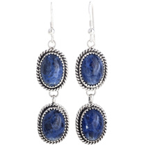 Navajo Lapis Silver Earrings 29063