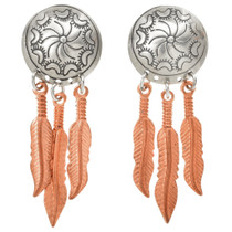 Navajo Silver Copper Feather Earrings 23862